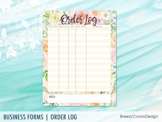 Fl Order Tracker Printable S Log Form Journal Pages Template Handmade Business 8 5x11 Le
