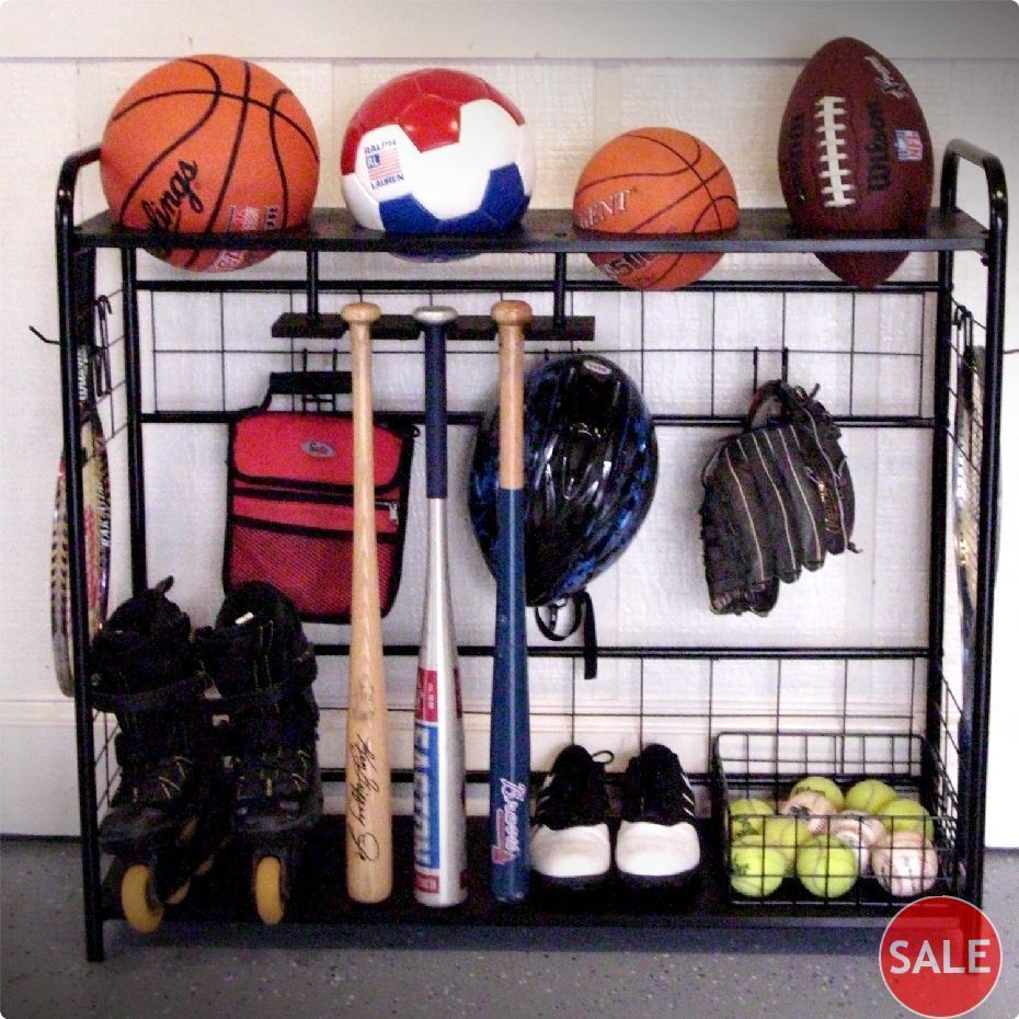 SPORTS GARAGE ORGANIZER EQUIPMENT STORAGE RACK GEAR SHOES BALLS BAG METAL  HOLDER In Sporting Goods,