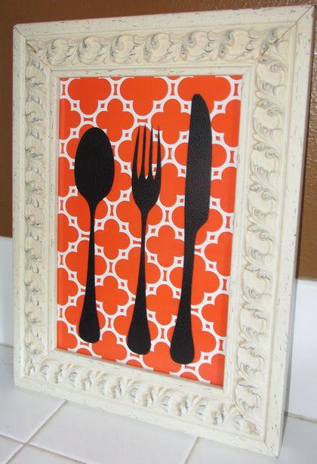 Easy Kitchen Art http://dorothysueandmillieb.blogspot.com/ #silhouette #kitchenart #diywallart