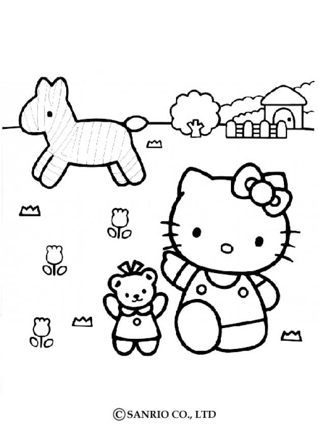 Hello Kitty The Farmer Coloring Page