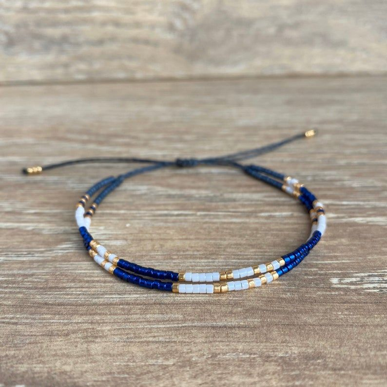 Seed bead rope bracelets Gift For Her Knot Beaded bracelet for Women Black white Elastic Bracelet bead crochet jewelry set