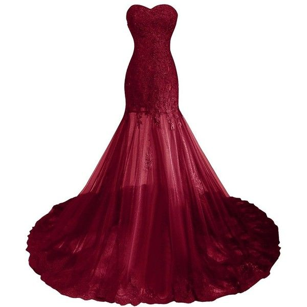 6f87d4851d9 Amazon.com  Little Star Women s Burgundy Prom Dresses Plus Size Long...  ( 106) ❤ liked on Polyvore featuring dresses