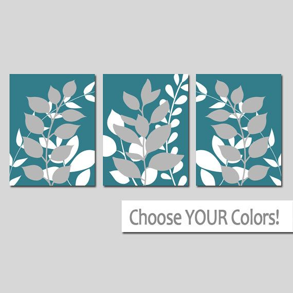 TEAL Wall Art Bedroom Pictures Leaves CANVAS or by TRMdesign