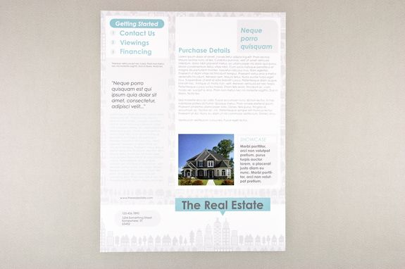 Illustrative Real Estate Datasheet Template  This Graphic And