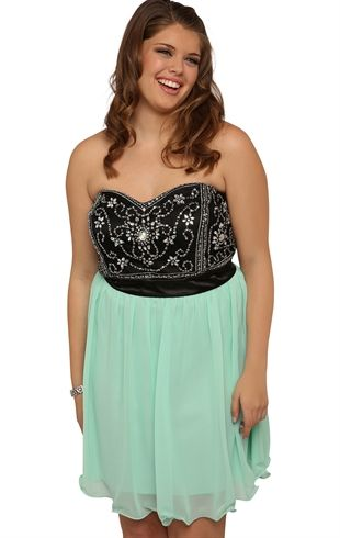 Deb Shops Plus Size Vintage Prom Dress With Beaded Mesh Bodice And