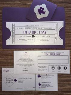 Vintage Cinema Wedding Invitation Ticket by papercakedesigns