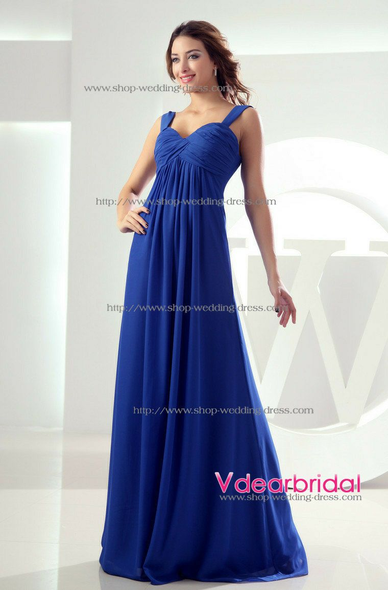 Elegant A Line Sweetheart Empire Waist Pleated Floor Length Chiffon Royal Blue Bridesmaid Dresses Wd3