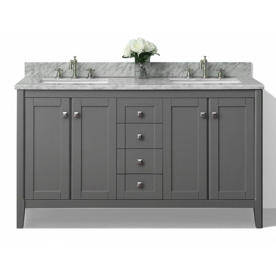 Shelton Shire Gray Undermount Double Sink Bathroom Vanity With Natural Marble Top Common 60 In X 22 Actual