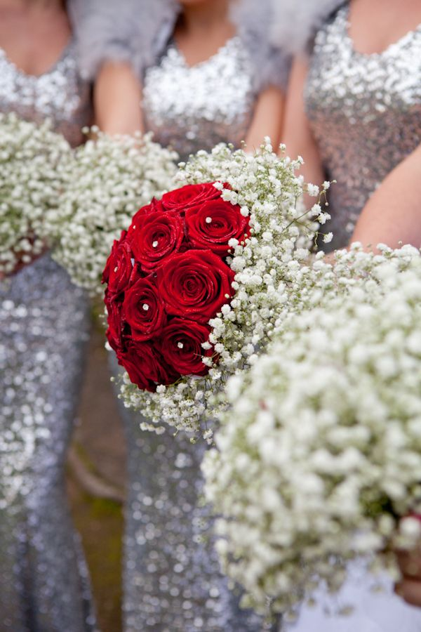 Silver White Sequin Winter Wedding   www