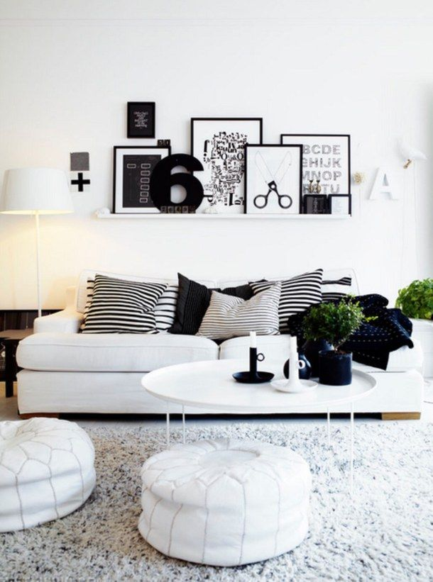 Room · White Living Room With Black ...