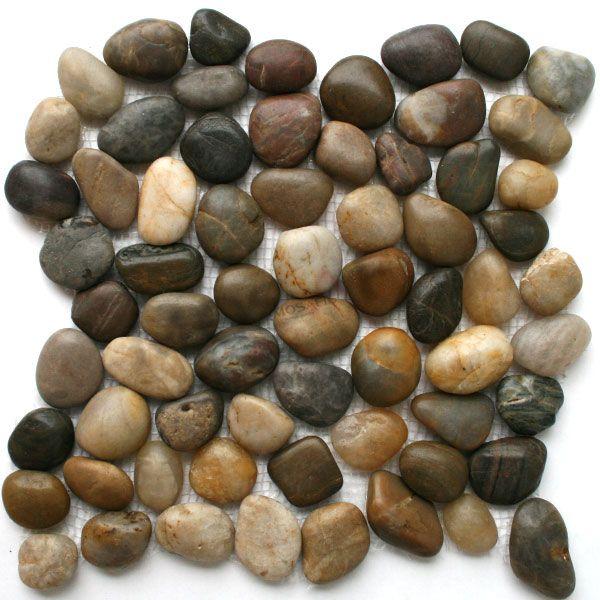 Flussstein Kiesel Stein Mosaik Fliesen Pebble Beige   1 Matte