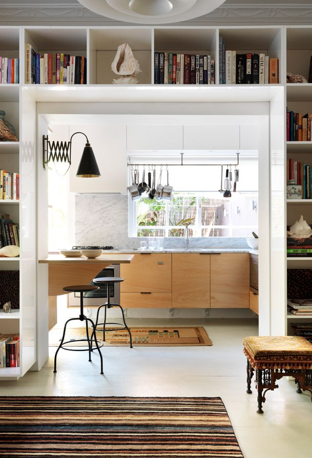 Upper Cabinets Disappear In White While The Industrial Pot Rail Creates Texture Love Cantilevered Decorating Living RoomsDecorating IdeasKitchen