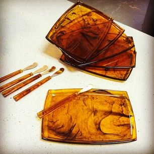 Mid century Tortoise Appetizer plate set with knives! -