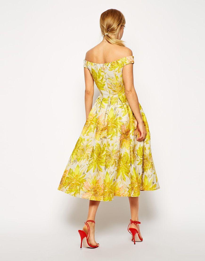 Asos Asos Sunflower Bardot Midi Prom Dress At Asos Midi Prom Dress Prom Dresses Yellow Prom Dresses [ 1110 x 870 Pixel ]