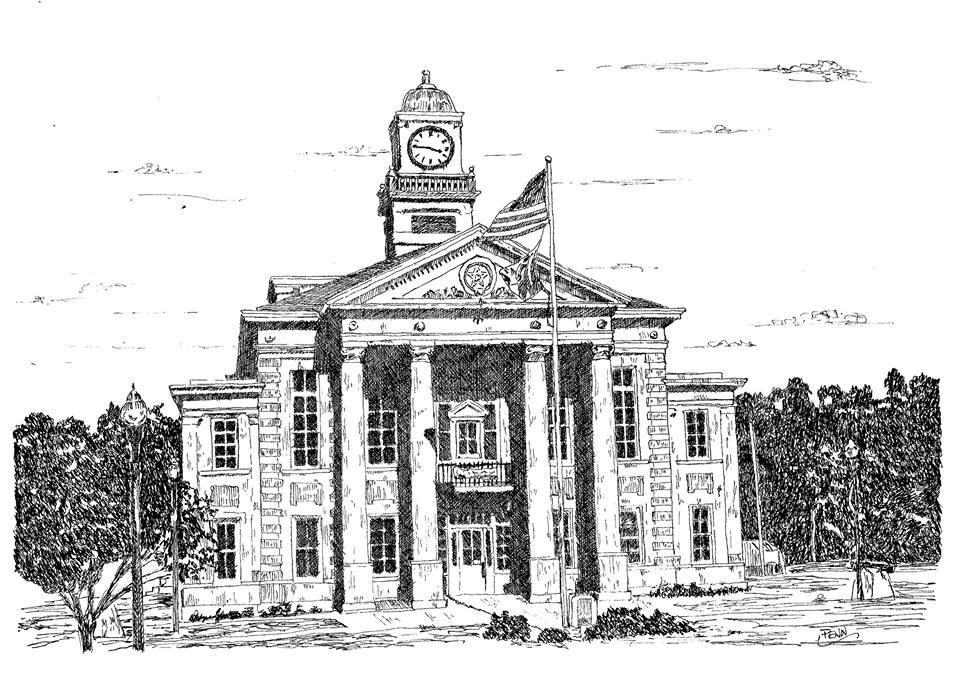 Wirt County WV Courthouse in Elizabeth, WV-Pen & Ink on