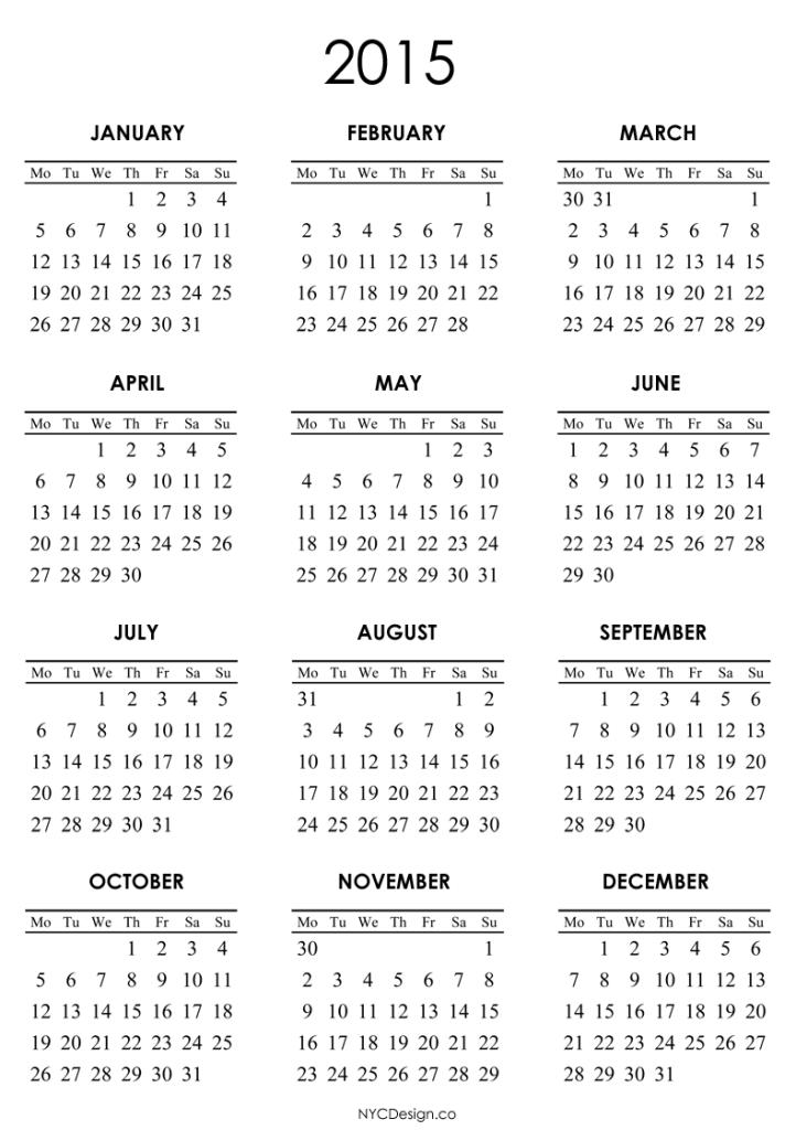 online calendar template 2015