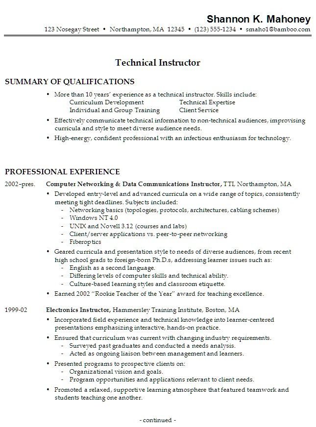 sample chronological resume for a technical instructor who has no college degree is holding two jobs concurrently and uses no job objective statement. Resume Example. Resume CV Cover Letter