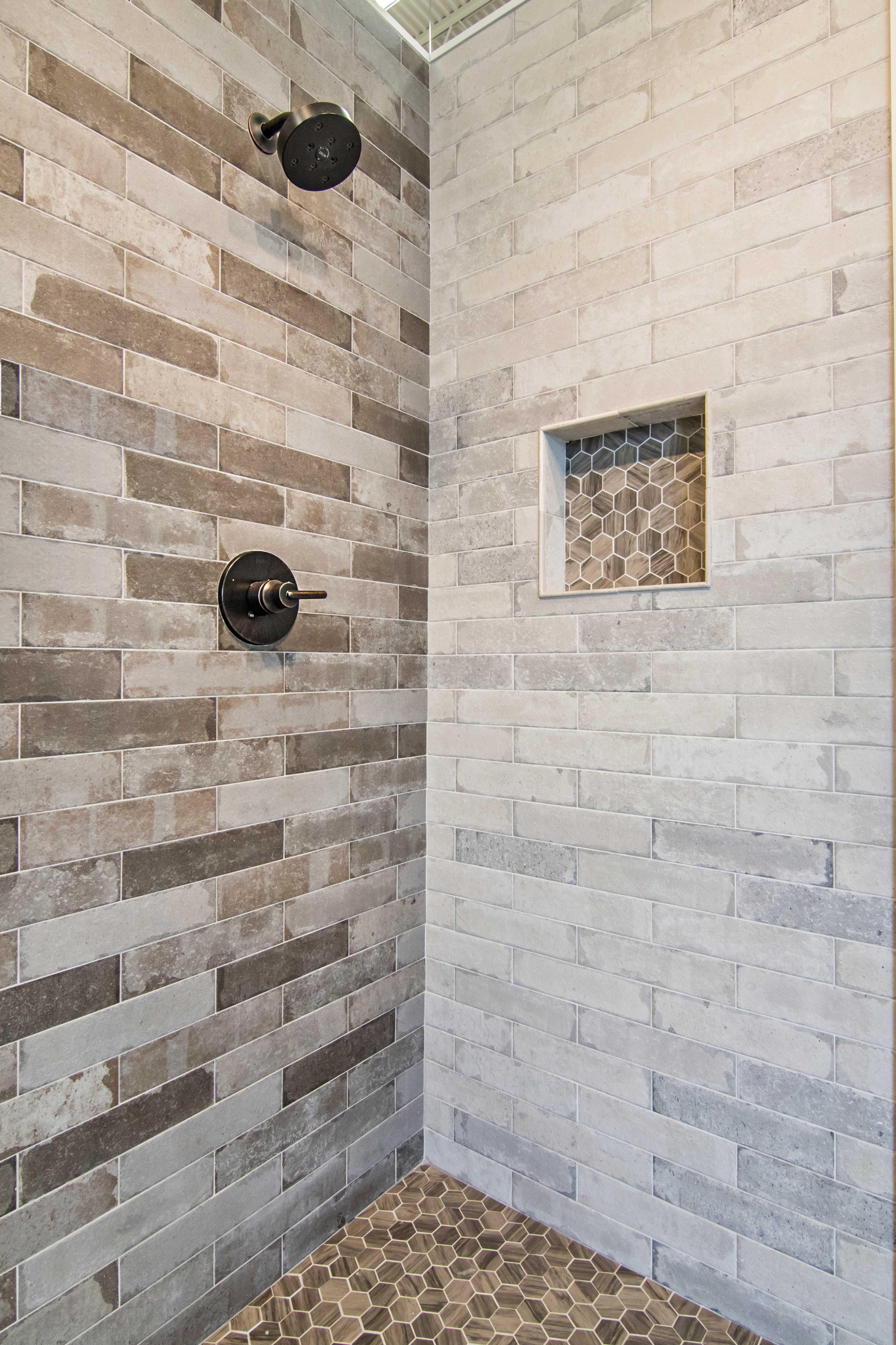 Bathroom Brick Earth Tone Shower Tile Bricklane Olive