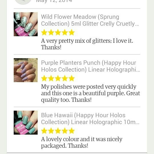 A lovely little bit of feedback in the reviews section on etsy. I really appreciate the feedback :) #frecklespolish #nailpolish #nailvarnish #indie #indienails #indiepolish #manicure #mani #holographic #holo #nailart #nailstagram #nailartnews #nails #notd #ignails #instanails #ukindies #ukindienews #ukindiepolish #supportindie Www.etsy.com/shop/frecklespolish