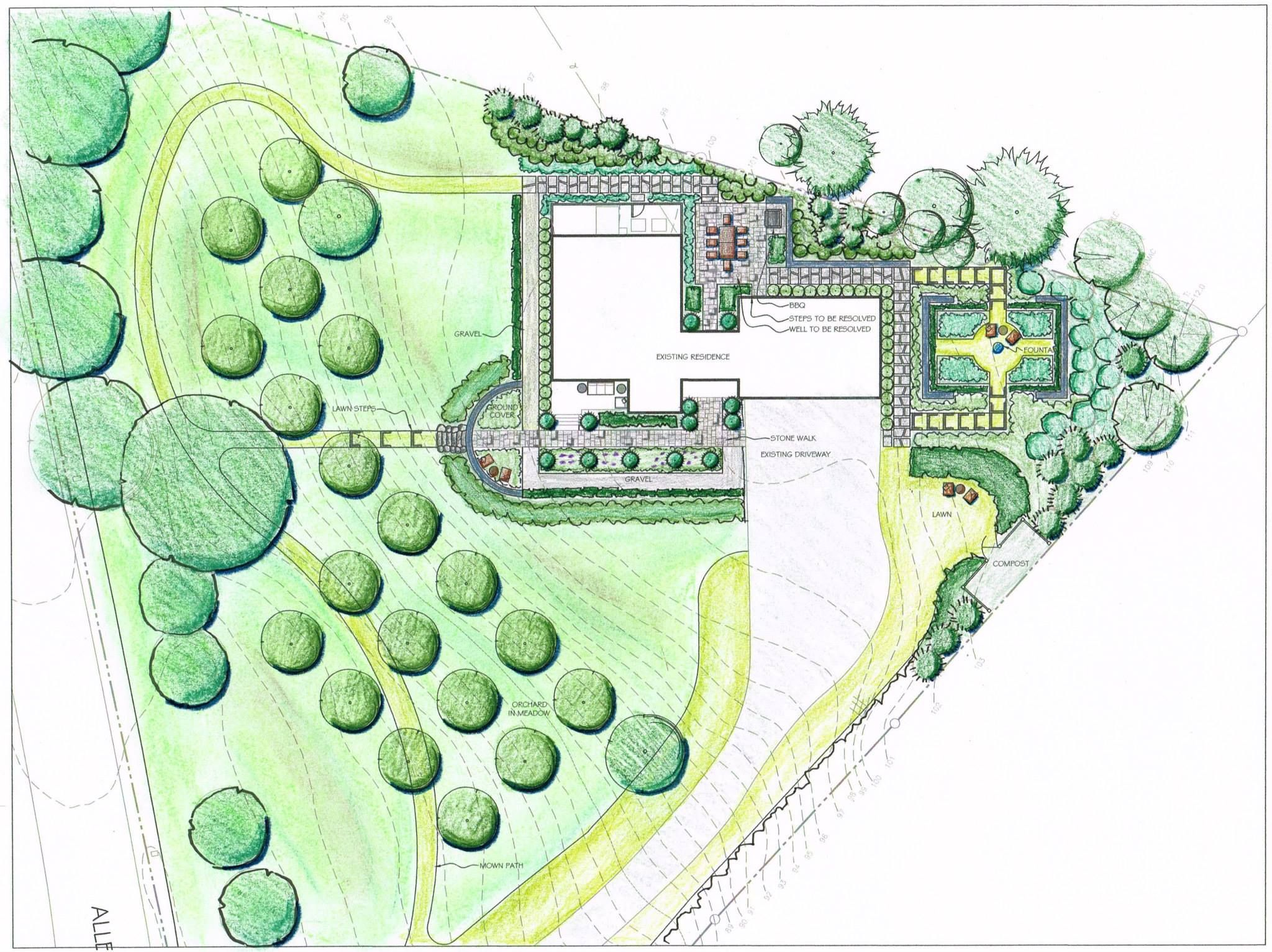 art drawing rendering colored pencil landscape garden design illustration - Garden Design Drawing