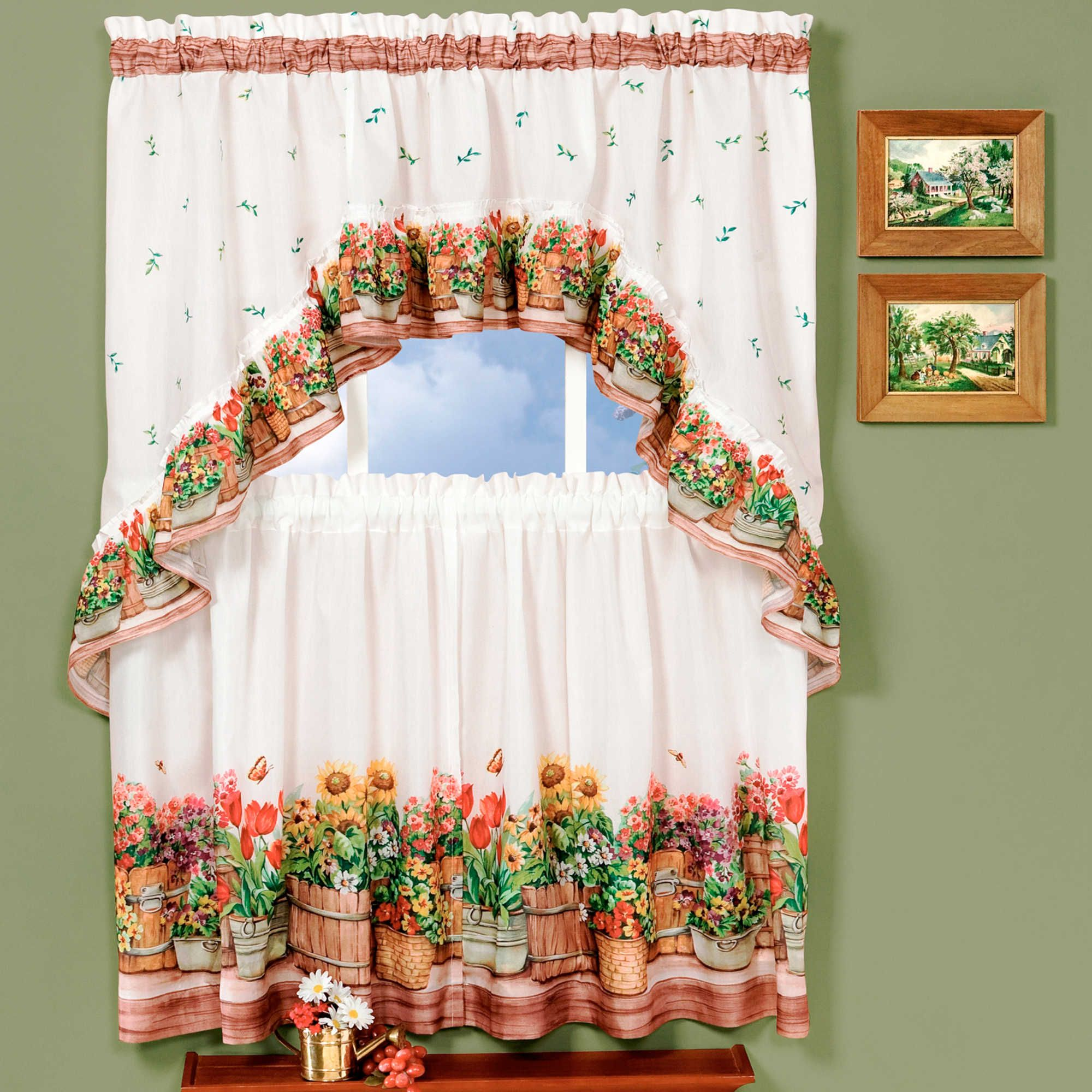 Kitchen window curtain  Achim Country Garden Kitchen Window Curtain Tier Pair and Swag Set