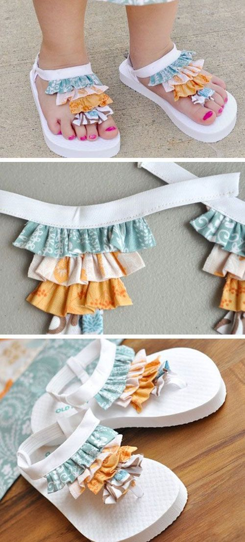 5ca4af9e97b15f 37 Awesome DIY Summer Projects - Ruffle Flip Flops Sandals