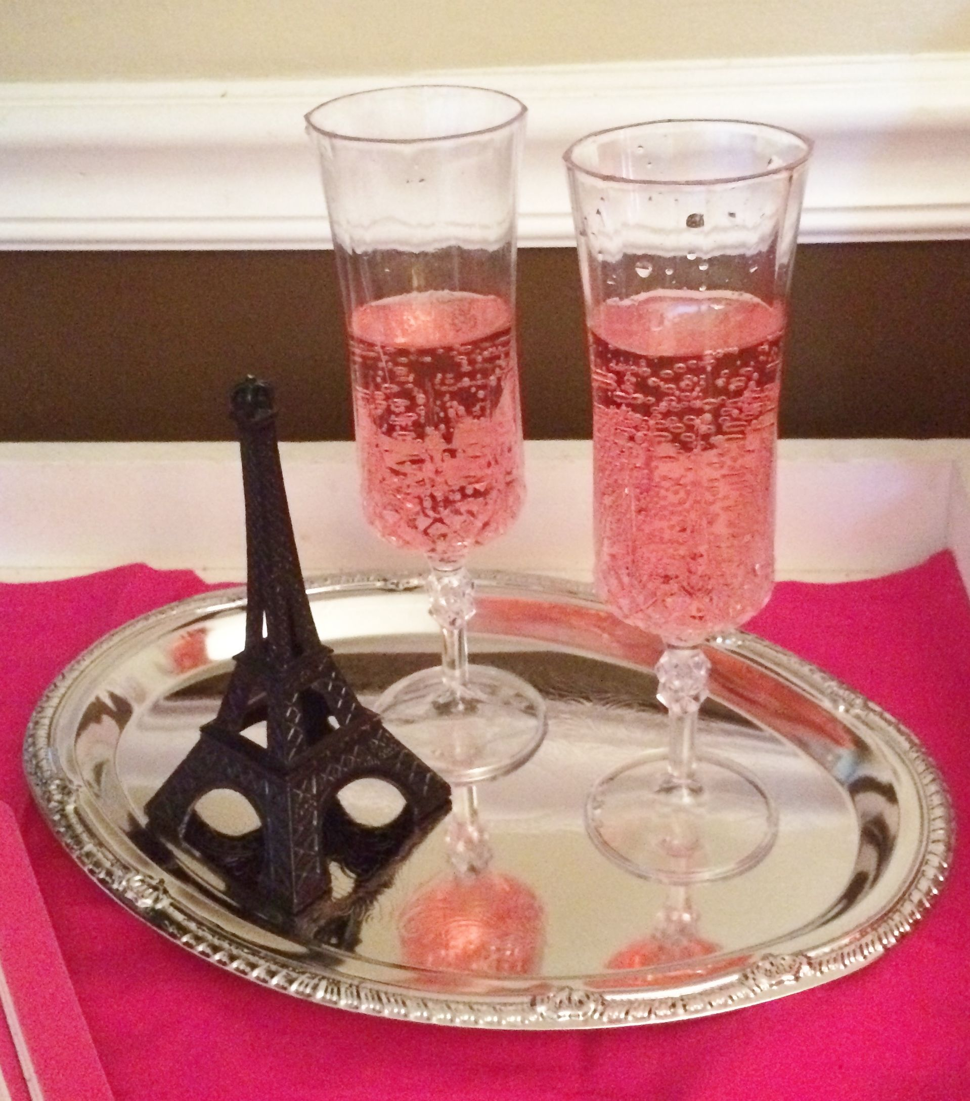 American Girl Passport To Paris Spa Party Dollar Tree Silver Tray And Glasses Paris Birthday Parties Spa Birthday Parties Paris Party