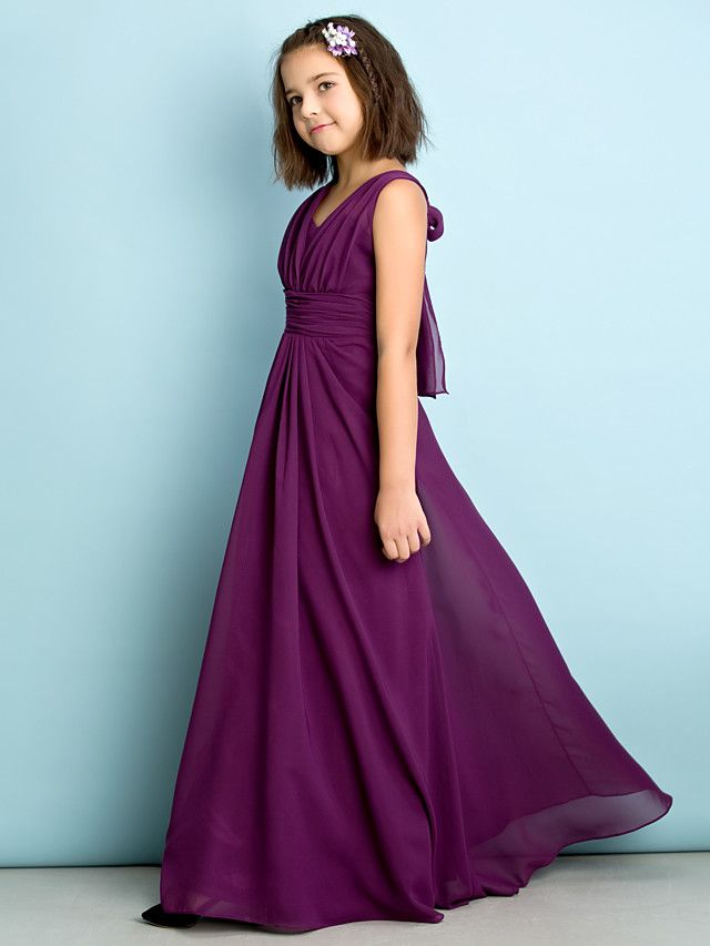 A-Line V-neck Floor Length Chiffon Junior Bridesmaid Dress with ...