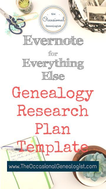 Genealogy Research Plan Template The Evernote Research Plan With