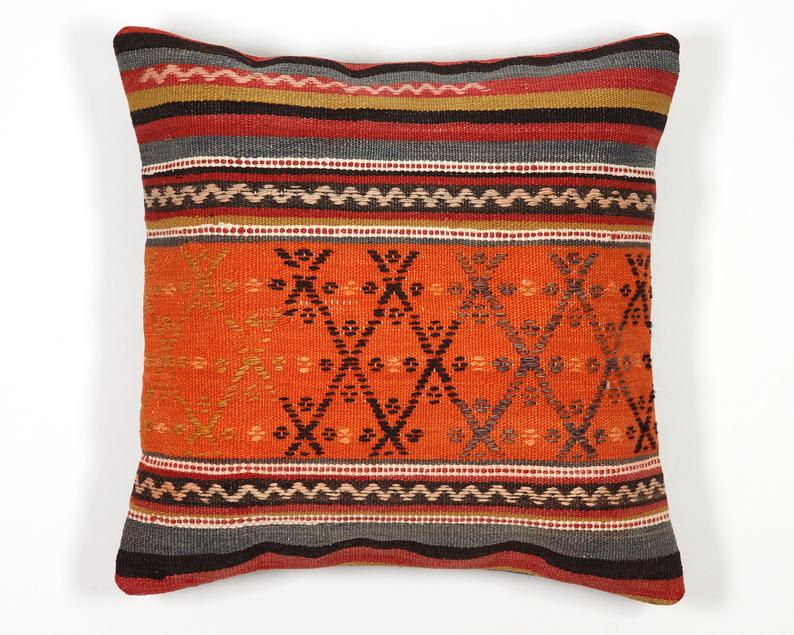 Kilim pillow 18x18 case 45x45 cover ethnic accent sofa couch seat bench floor orange black striped throw turkish boho pillow cushion cover