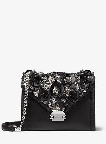 e522ddd3cb45 Whitney Large Floral Embellished Leather Convertible Shoulder Bag ...