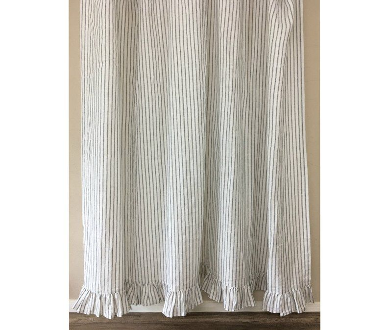 Iron White Ticking Striped Linen Shower Curtain With Ruffle Hem