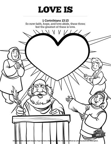 1 Corinthians 13 Love Is Sunday School Coloring Pages: 1