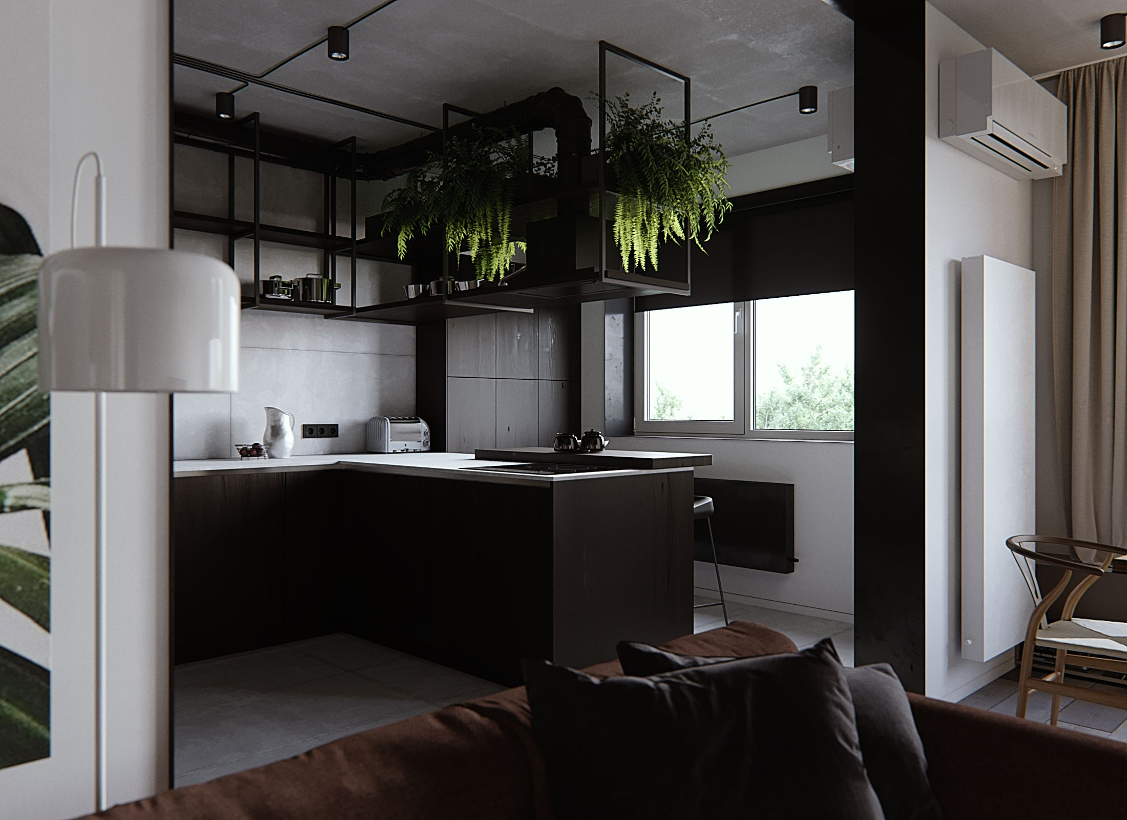 Sarah Living Room Kitchen White Black Wood Concrete Maroon Green Brown Plants Brown Living Room Decor 1st Apartment Brown Living Room