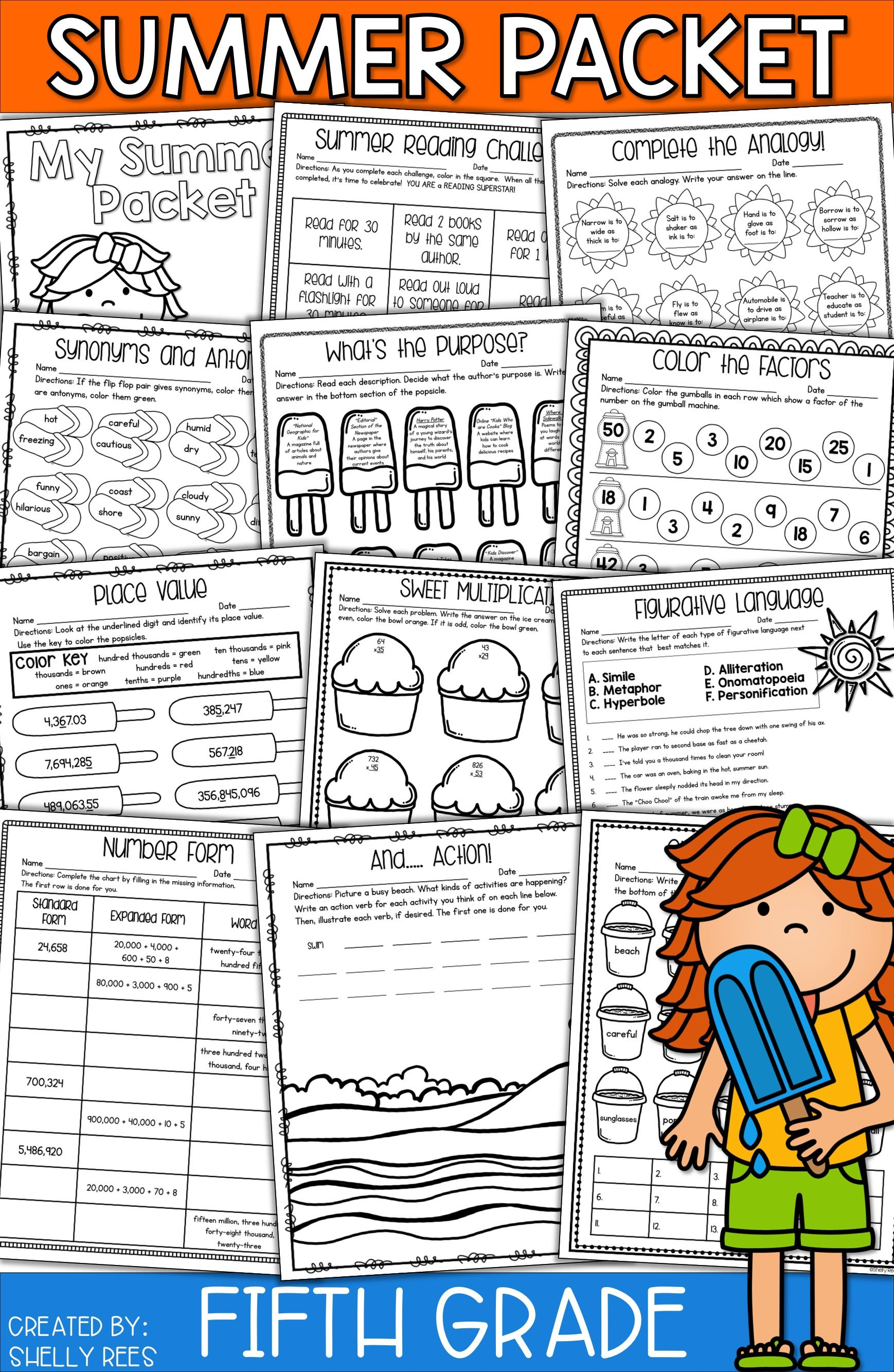 Summer packet for 5th grade makes summer review fun and easy! NO PREP  packet has summer math activities [ 2666 x 1738 Pixel ]