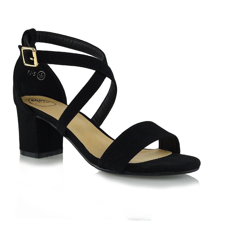 Womens Low Heels Strappy Block Heel Ankle Strap Evening Sandals Black Faux Suede Cf1852d024m Womens Strappy Sandals Black Evening Shoes Strappy Block Heels [ 1500 x 1500 Pixel ]