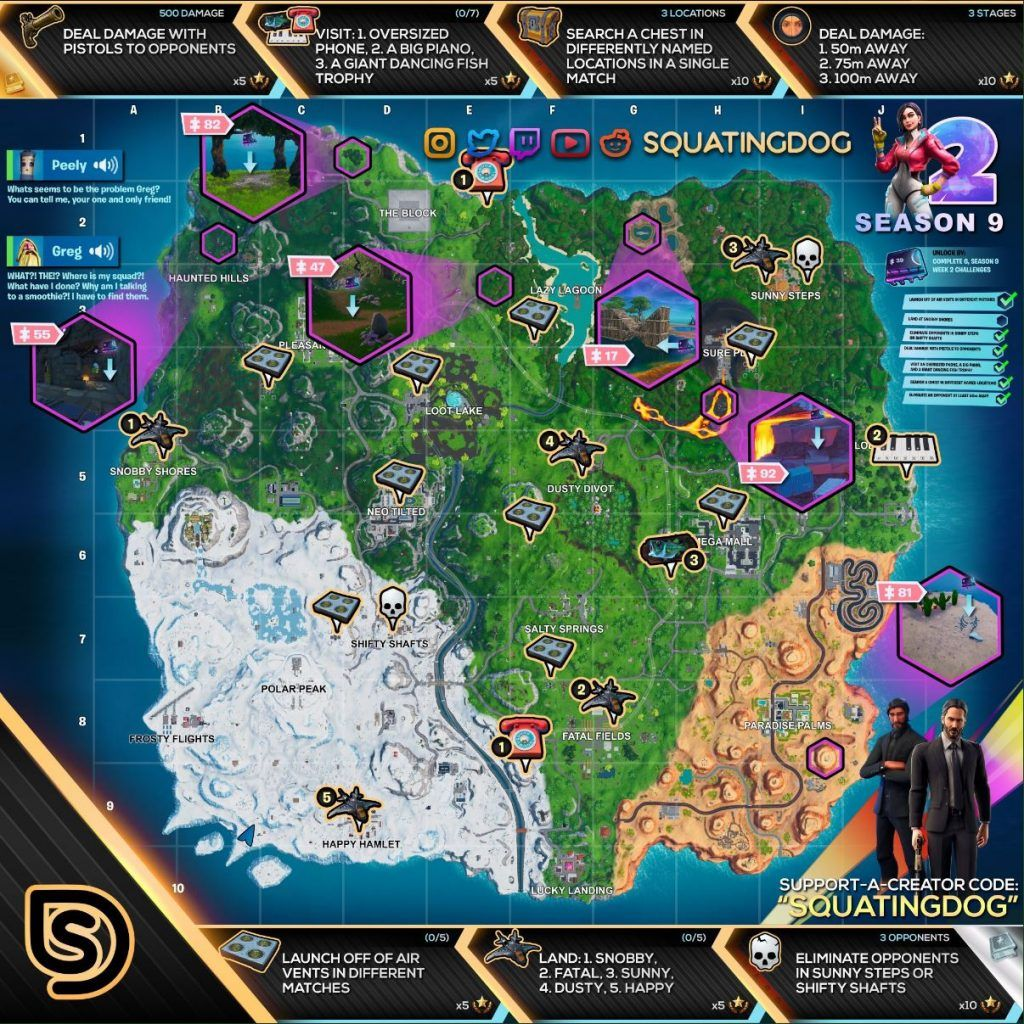 Complete Season 9 Week 2 Cheat Sheet with all challenge