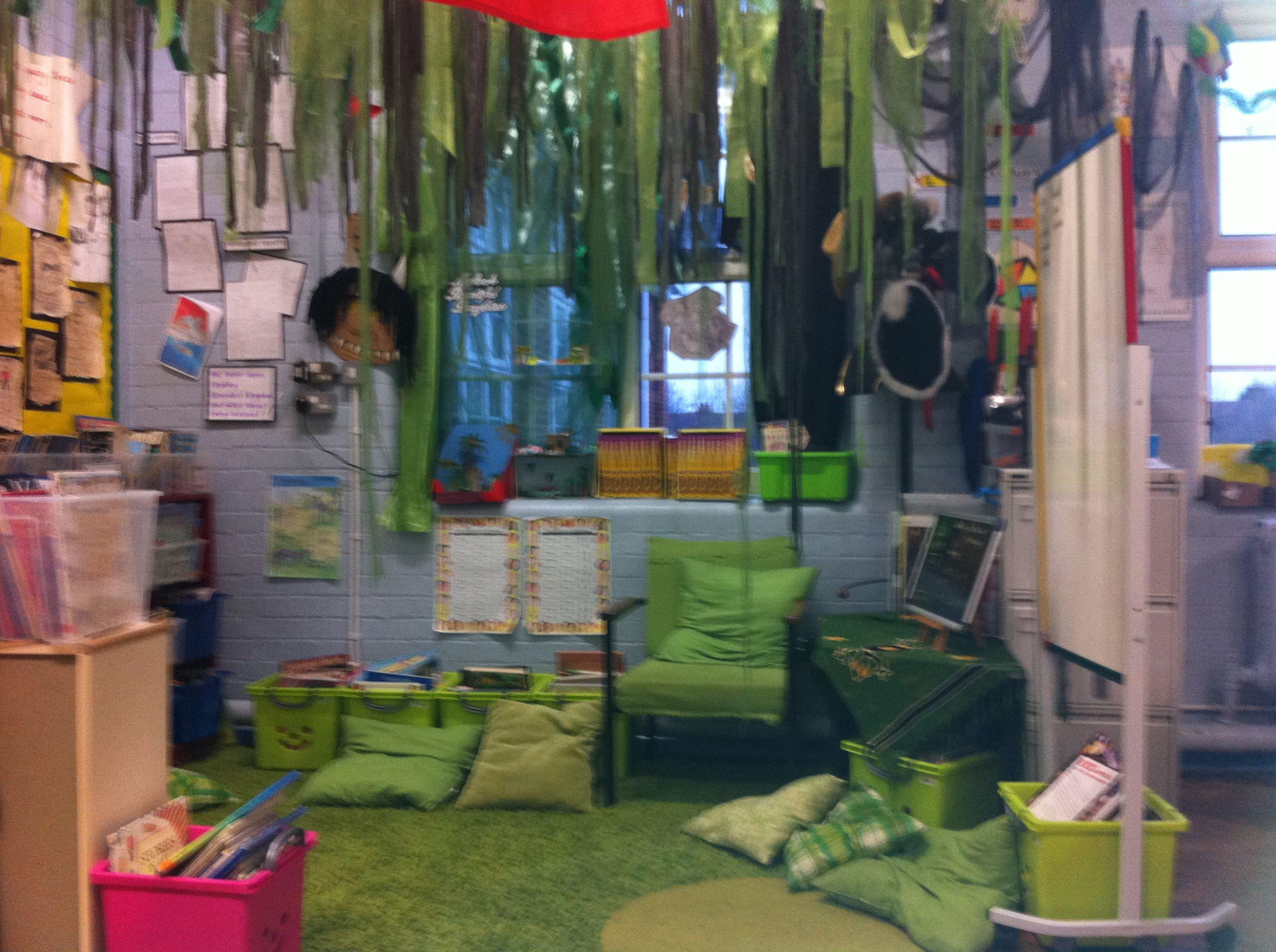 'Jungle' book corner! | Book corners, Book corner display ...