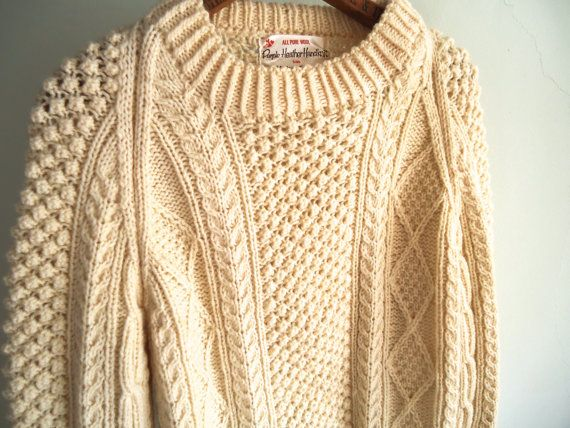 Vintage Wool Sweater Vintage Women Men Cable by GnarlyNutmeggers ...