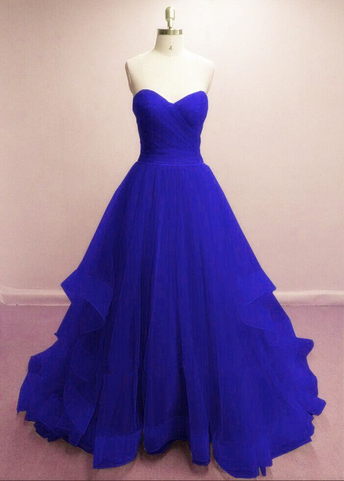 Gorgeous Royal Blue Sweetheart Tull Gowns, Blue Prom Dresses 2018 ...