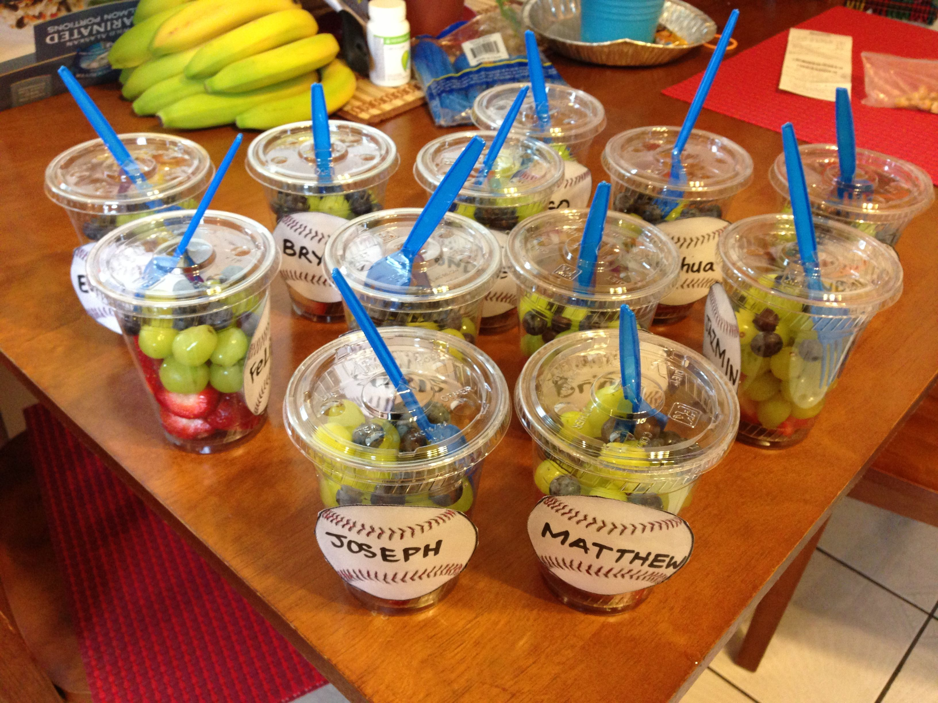 Baseball themed fruit cups for snacks after a game for Food bar game
