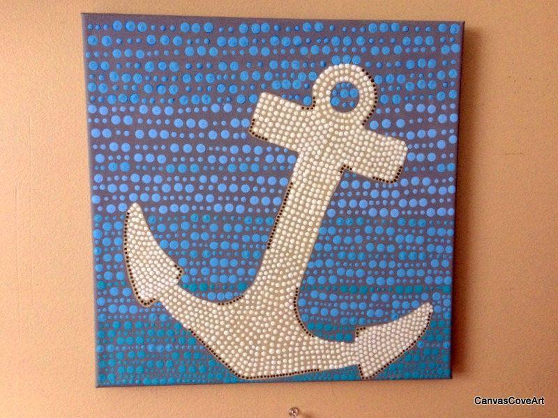Nautical Anchor Dot Acrylic Painting 12 x