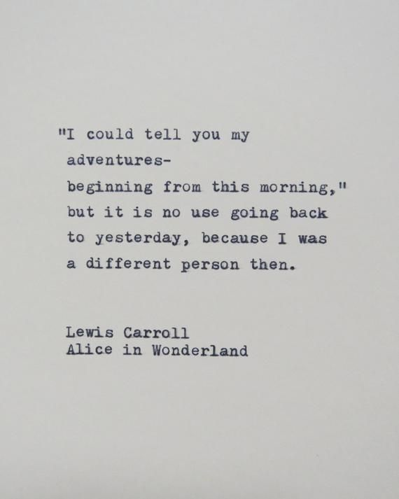Alice in Wonderland Quote Hantyped on Typewriter / Typewriter Quote