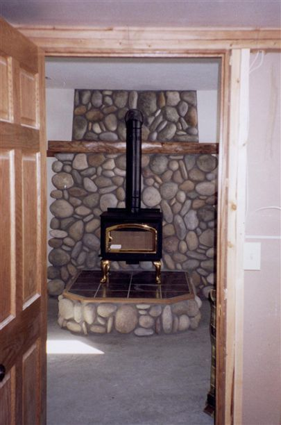 E Country Woodstove Stream Stone Wall Shield With Tile Hearth