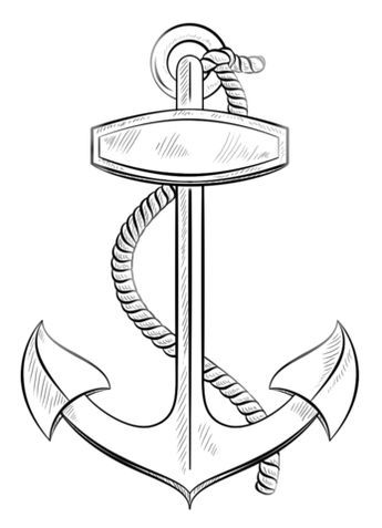 Anchor With Rope Coloring Page Anchor Drawings Drawing Tutorials For Kids Drawings