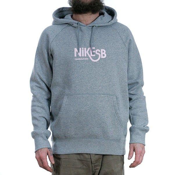 Nike SB Icon Pullover Hoodie Dark Grey Heather Prism Pink