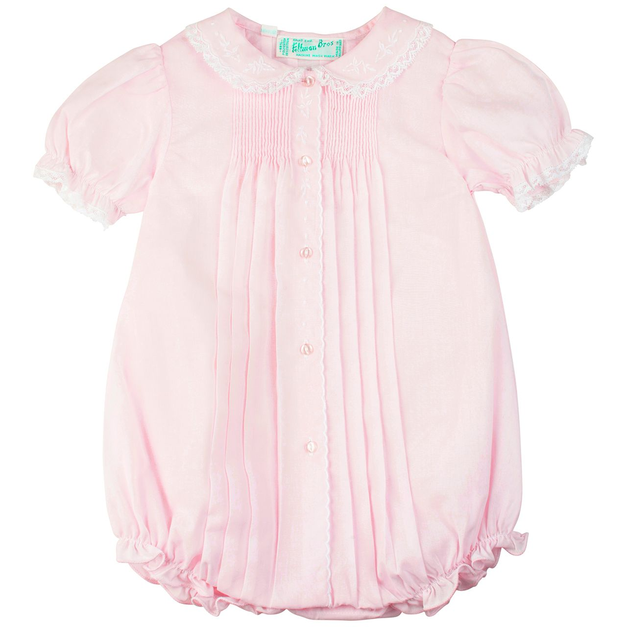 cb91db318b5 Delicate and sweet, baby girl pink short romper bubble. Embellished with  embroidered flowers on collar and along the button front scalloped opening  along ...
