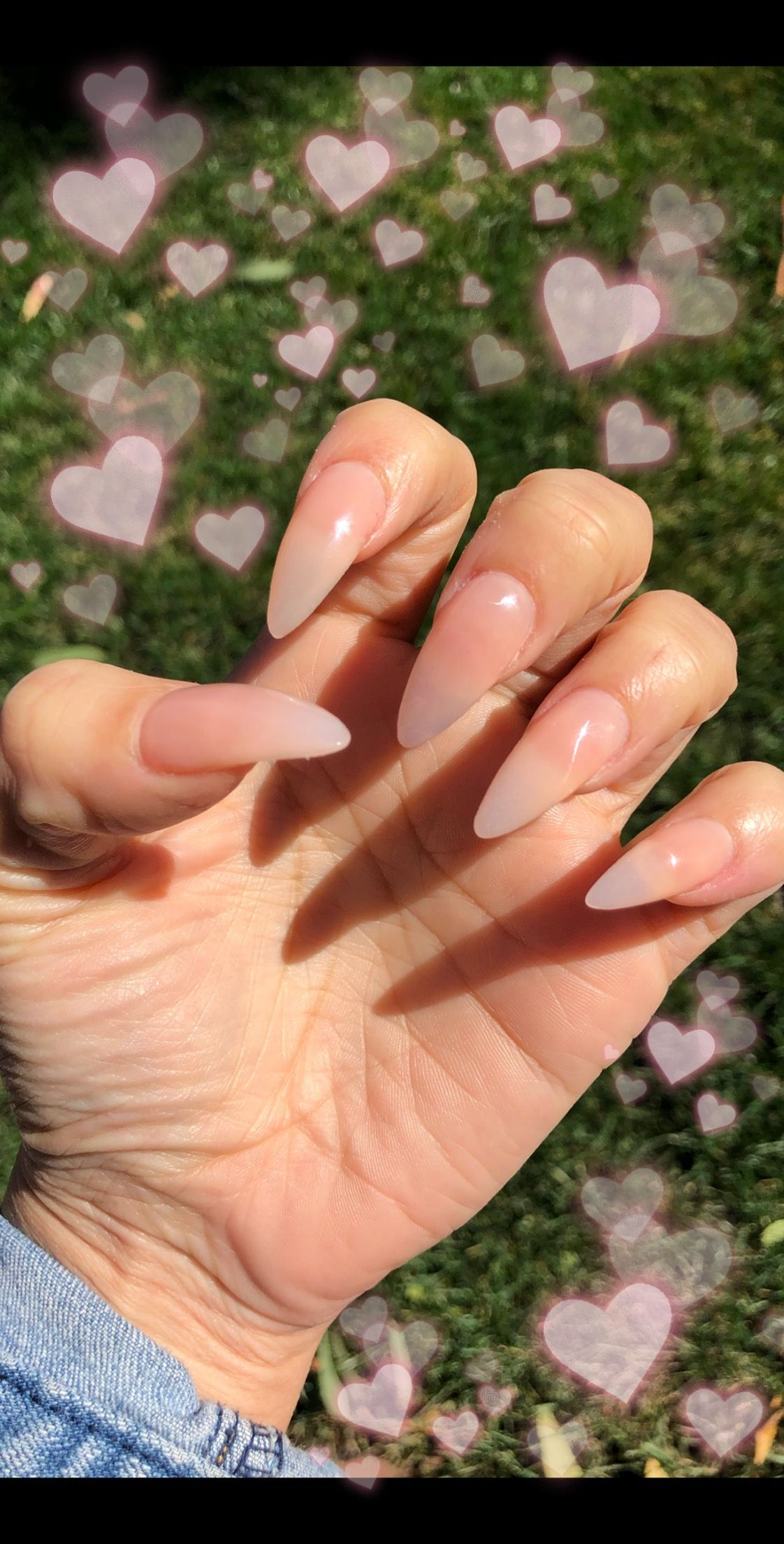 Almond Clear Pink Nails Hair And Nails Pink Nails Nails