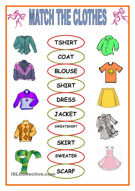 clothes matching Vocabulario en ingles basico