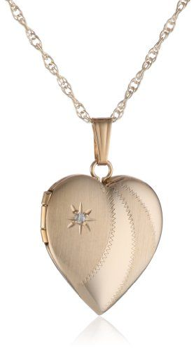 "14k Yellow Gold Satin and Polished Heart Locket with Genuine Diamond Necklace, 18"" - Listing price: $415.00 Now: $255.00"